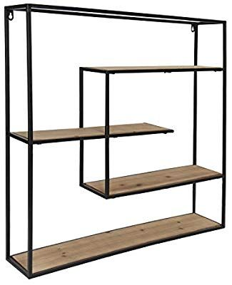 Amazon Com Kate And Laurel Ulna Large Modern Decorative Floating Wall Shelves With Black Metal Frame Rustic Floating Wall Shelves Floating Wall Wall Shelves