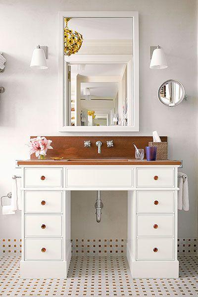 Bathroom Reveal | Antique desk, Sheet metal and Vanities