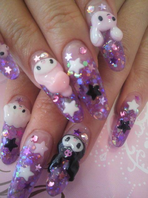 ☮✿★ Kawaii Nails for Girls ✝☯★☮ Nail Swag, Kawaii Nail Art, 3d Nail Art, Hello Kitty Nails, Fire Nails, Best Acrylic Nails, Dream Nails, Cute Nail Designs, Nail Inspo