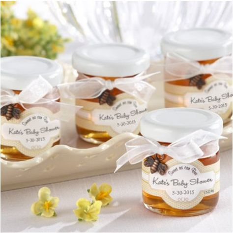 Add a sweet touch to your baby shower with these adorable honey jar favors.