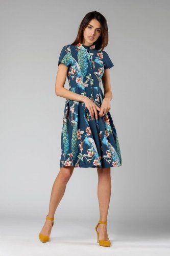 Rozkloszowana Sukienka Z Guzikami Granatowa We Wzor Ptaki Na1131 In 2021 Fashion Dresses Dresses With Sleeves