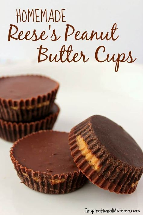 Homemade Reese's Peanut Butter Cups are filled with sweet, creamy peanut butter and covered with melt-in-your-mouth chocolate! #inspirationalmomma #homemadereesespeanutbuttercups #peanutbutter #chocolate  #homemade #dessert #desserts #recipe #reeses