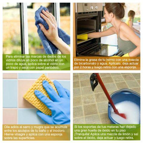 ¡Trucos para limpiar tu hogar!  Son fáciles y totalmente caseros para limpiar las diferentes superficies de tu hogar.
