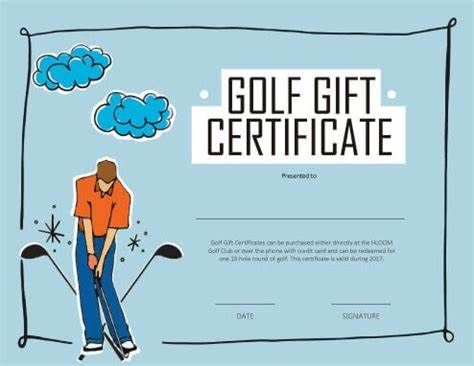 Golf Certificate Template Free Printable Gift Certificate Gift Certificate Template Free Gift Certificate Template