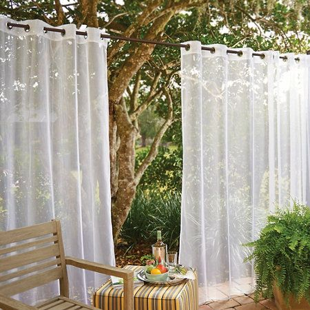 Grommet Top Mesh Outdoor Curtain Panels With Insect Repellent