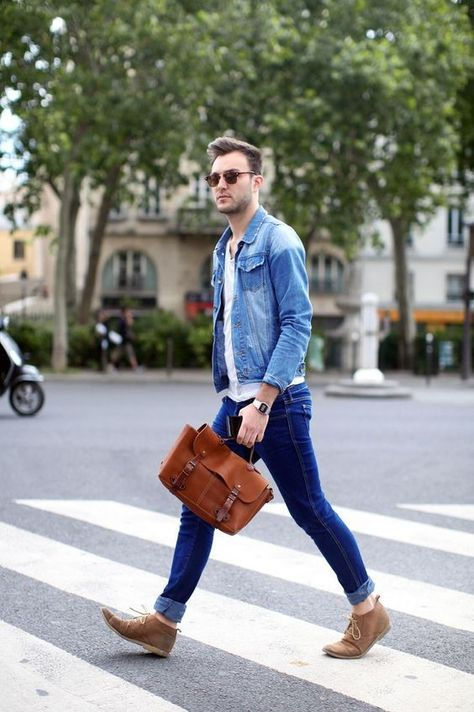 How to Wear a Light Blue Denim Jacket For Men looks & outfits)