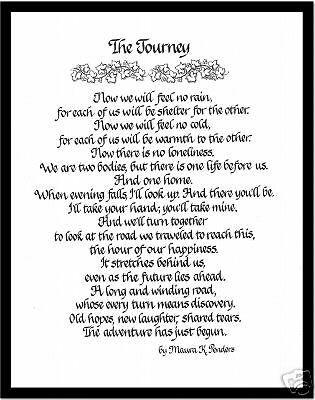 The Journey Calligraphy Print Great Gift For Wedding Ebay Small Private Wedding Wedding Renewal Vows Diy Gifts For Boyfriend