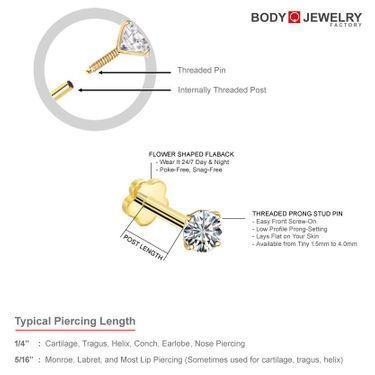 14k Gold Cartilage Tragus Helix Monroe Labret Nose Stud