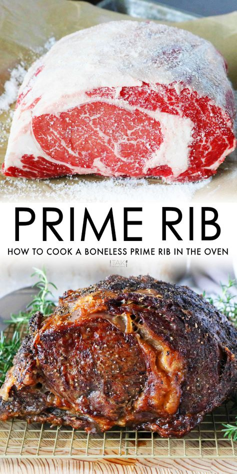 Easy Prime Rib Recipe - - A simple, traditional boneless prime rib recipe that ensures a tender and juicy roast with a gorgeous, crispy crust. Cooking Prime Rib Roast, Slow Roasted Prime Rib, Cooking A Roast, Roast Rib Of Beef, Beef Ribs, Holiday Roast Recipe, Rib Roast Recipe, Rib Recipes, Roast Recipes