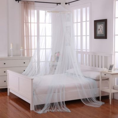 Oasis Round Hoop Sheer Bed Canopy In Light Blue In 2020 Round