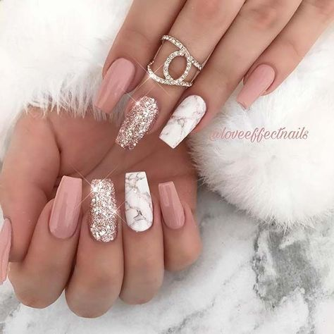Nude and Marble Nail Art Design #nailideas #nailart #naildesigns