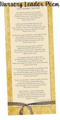 Nursery Leader Bookmark - needed this today!