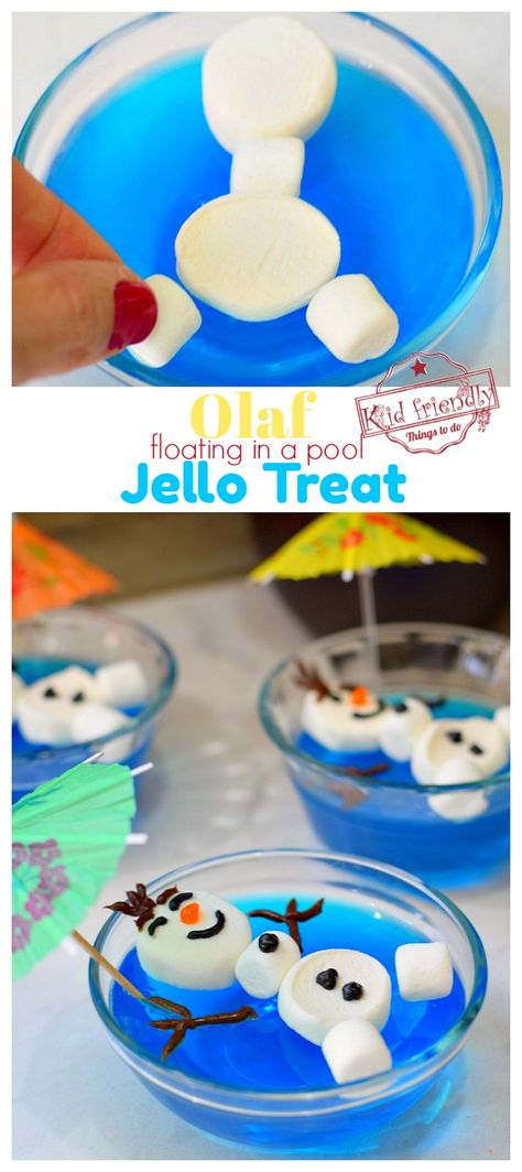 Olaf Floating in a Pool of Jello {A Frozen Themed Food Idea}- Make this cute O. - Olaf Floating in a Pool of Jello {A Frozen Themed Food Idea}- Make this cute Olaf floating in a p - Frozen Themed Birthday Party, Disney Frozen Birthday, 4th Birthday Parties, Birthday Fun, Disney Frozen Treats, Olaf Birthday Cake, Kids Birthday Treats, Birthday Themes For Kids, Disney Themed Party