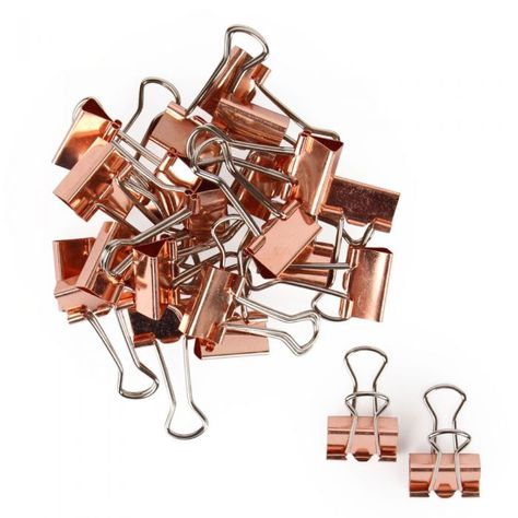 Rose gold binder clips - pack of 24 - All Desk Accessories - Desk Accessories - Stationery