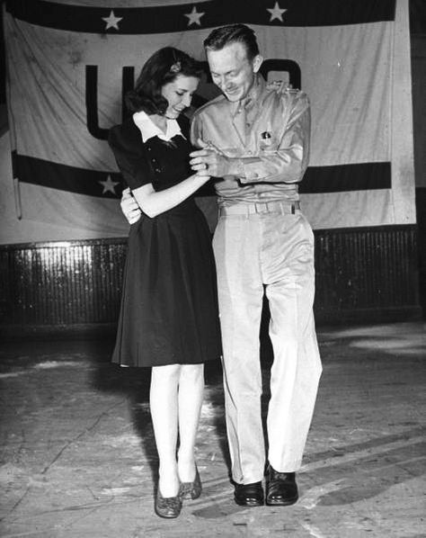 A private and his date dancing at the USO recreation center. Virginia Beach, Virginia, USA, (This is amazingly adorable!