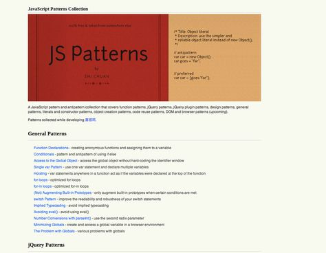 Javascript Patterns Collection Http Shichuan Github Io