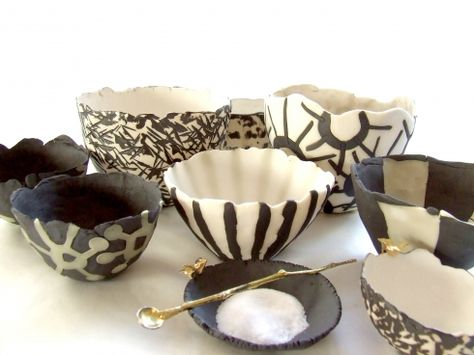 Handformed Porcelain With Black Inlay Aboda Sth Africa Decorative Bowls Glass Ceramic Inlay