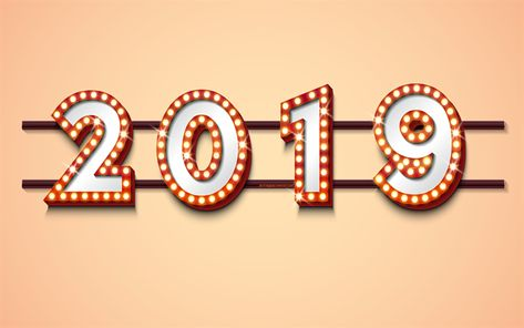 2019 year happy new year 2019 retro light bulbs casino 2019 concepts retro 2019 background creative art