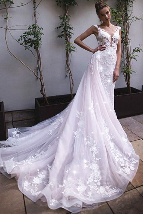 Dazzling Tulle Jewel Neckline A-line Wedding Dresses With Beadings & Handmade Flowers & Lace Appliques