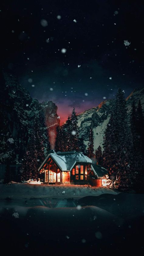 Winter House Snowfall iPhone Wallpaper - iPhone Wallpapers