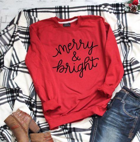 Merry and Bright Christmas Crewneck sweatshirt Boyfriend sweater sweatshirts for women sweatsh - Holiday Shirts - Ideas of Holiday Shirts - Christmas Shirts, Christmas Sweaters, Christmas Clothes, Christmas Fashion, Christmas Holiday, Christmas Ideas, Boyfriend Sweater, Boyfriend Quotes, Vinyl Shirts