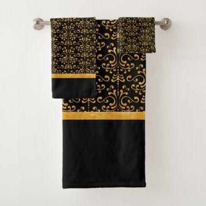 Elegant Black Amp Gold Damask Bath Towel Set Elegant Gifts
