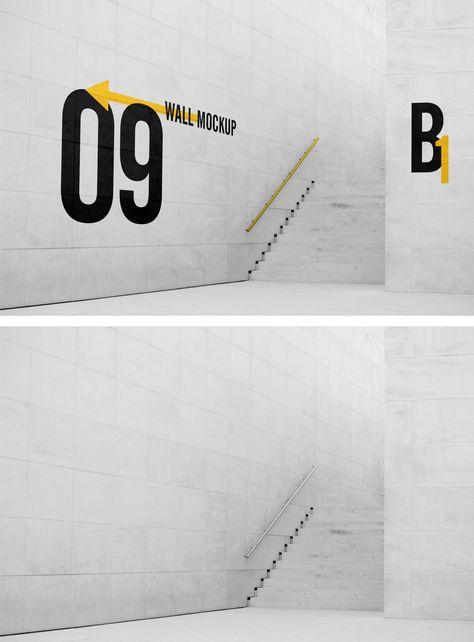 Wall Sign PSD Mockup Download Free - DesignHooks