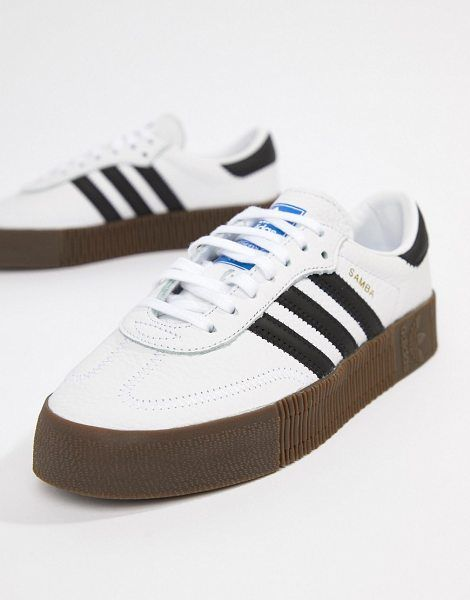 skate shoes hot product on feet at adidas Originals Samba Rose Sneakers In White With Dark Gum Sole ...