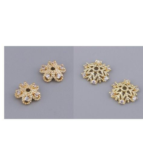 1 Pair Charms Pendants Bead Caps End Cap Flower//Snowflake Rhinestone Finding