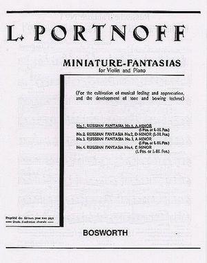 Leo Portnoff Fantaisie Russe N 1 En La Mineur Particuliers 10 Marchands 25 Leo Partitions Violon Partitions De Chansons