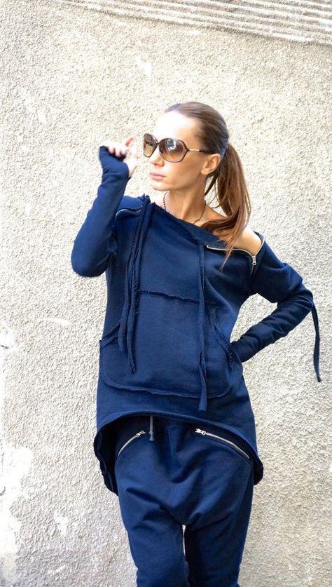 NEW Autumn Navy Extravagant Asymmetric Cotton Sweatshirt / | Etsy