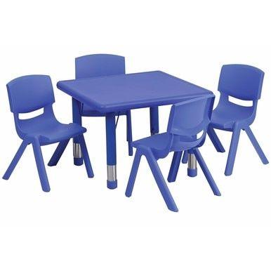 Flash Furniture 24 Square Adjustable Blue Plastic Activity Table
