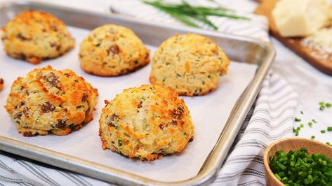 Low Carb Sausage Cheddar Chive Breakfast Biscuits Recipe In