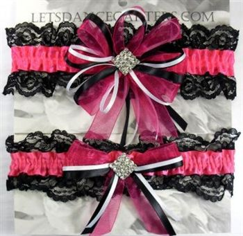 Hot Pink And Black Wedding Garters Found My Garter Yessss