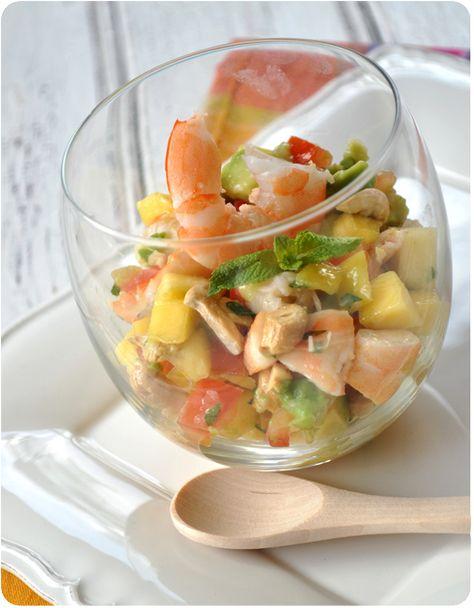 J'adore cette petite association, je la fais souvent, aussi bien en été pour un plat frais et coloré, qu'en hiver pour amener un peu de soleil dans l'assiette! Vous pouvez la servir par exemple en apéro, sur des chips de crevettes ou des chips épicées......