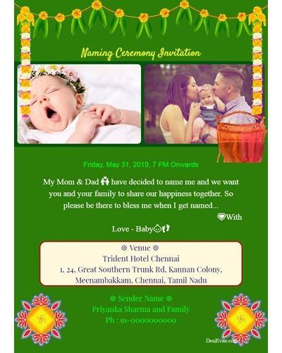 Namkaran Traditional Invitation Card Naming Ceremony Invitation