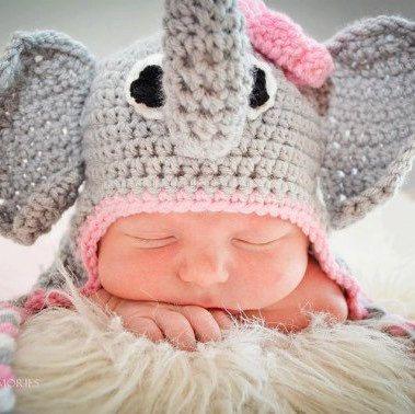 d549c4763da Crochet Baby Elephant Hat