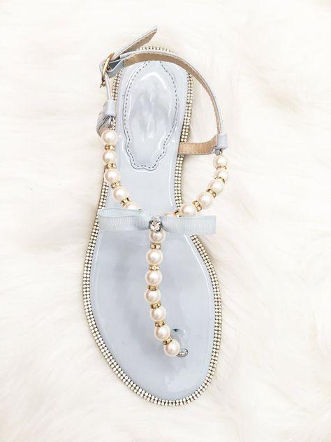 ab37c43b57510c Women Flat Sandals - T-Strap Light Blue Pearl Sandals With Rhinestones…