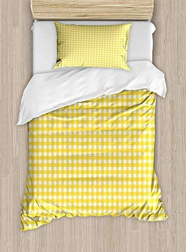 Maianne Checkered Duvet Cover Classic English Pattern In Yellow Picnic In Summertime Theme Retro Striped Decor Striped Duvet Covers Yellow Picnic Bedding Set
