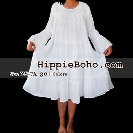 c1962c74b82 No.473 - Size XS-7X Hippie Boho Bohemian Gypsy White Peasant Bell Long  Sleeve Plus Size Sundress Tiered Mini Skirt