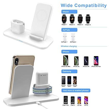 Simpfun Chargeur Sans Fil W01 Station De Charge Rapide Wireless Qi Pour Apple Watch 4 3 2 1 Airpods Iphone Xs Xr X 8 8 Plus Phone Mobile Phone Stands Iphone