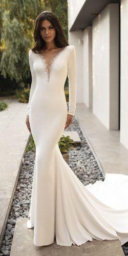 36 Chic Long Sleeve Wedding Dresses Wedding Forward Satin Mermaid Wedding Dress Wedding Dress Long Sleeve Bridal Dresses