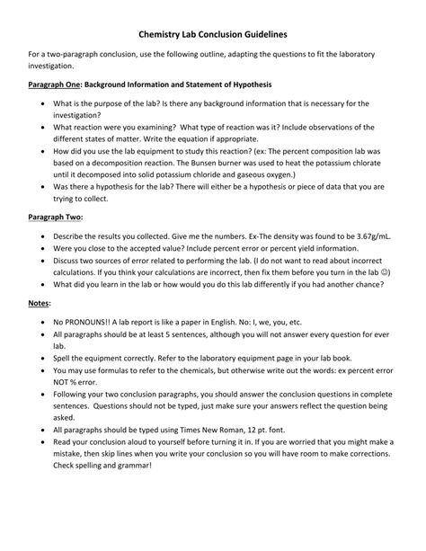 Lab Conclusion Paragraph Report Guidelines In Lab Report