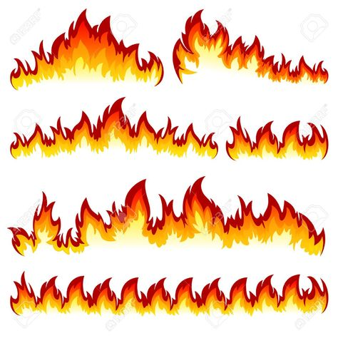 Flames of different shapes on a white background. Illustration , #Ad, #shapes, #Flames, #white, #Illustration, #background