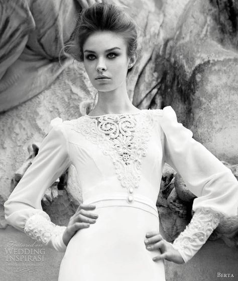 Berta Wedding Dresses 2013 | Wedding Inspirasi | long sleeve gown with beaded cuff detailing.