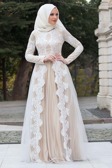 Tesetturlu Abiye Elbise Dantel Detayli Beyaz Abiye Elbise 4152b Tesetturisland Com Musluman Elbisesi Aksamustu Giysileri The Dress