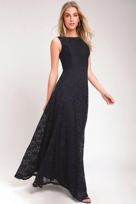 LUCIANA NAVY BLUE LACE SCOOP BACK MAXI DRESS | Dresses