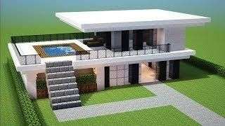 Minecraft How To Build A Small Modern House Tutorial 13 Easy In 2020 Easy Minecraft Houses Minecraft House Plans Minecraft Mansion
