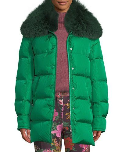 f833ba942 TX5RB Moncler Mesange Puffer Coat w/ Fur Collar | COATS | Coat, Fur ...