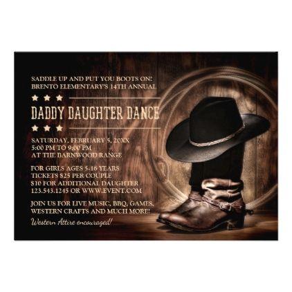 Daddy Daughter Dance Invitations Western Theme Zazzle